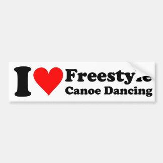 I Love Freestyle Canoe Dancing Sticker Bumper Sticker