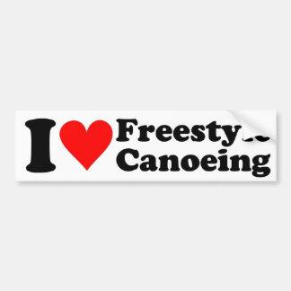 I Love Freestyle Canoeing Sticker Bumper Sticker
