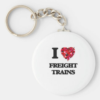 I Love Freight Trains Basic Round Button Key Ring