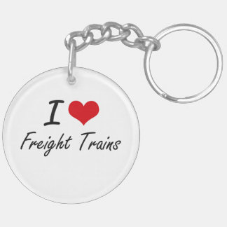 I love Freight Trains Double-Sided Round Acrylic Key Ring