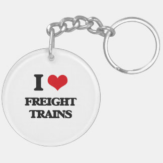 I love Freight Trains Double-Sided Round Acrylic Keychain