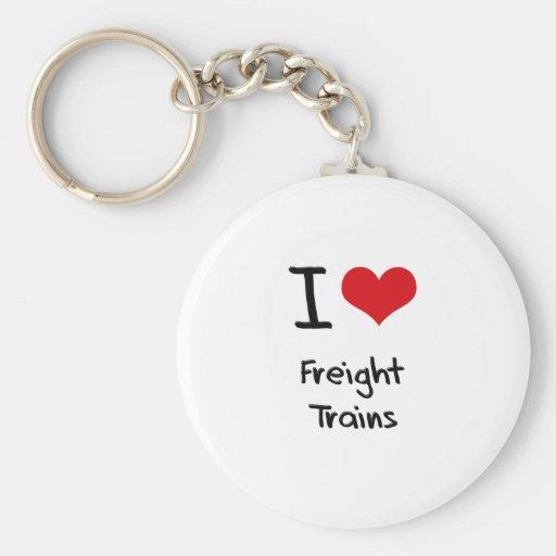 I Love Freight Trains Keychain