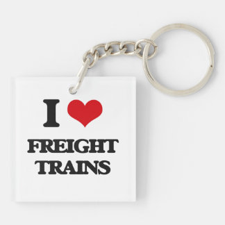 I love Freight Trains Square Acrylic Key Chain