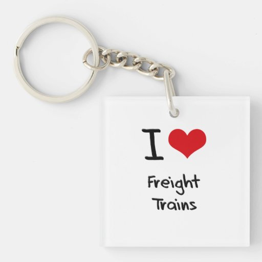 I Love Freight Trains Square Acrylic Keychain