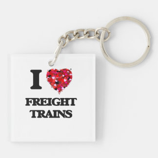I Love Freight Trains Double-Sided Square Acrylic Key Ring