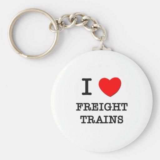 I Love Freight Trains Key Chain