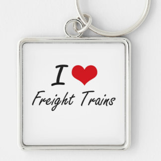 I love Freight Trains Silver-Colored Square Key Ring