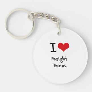 I Love Freight Trains Single-Sided Round Acrylic Key Ring