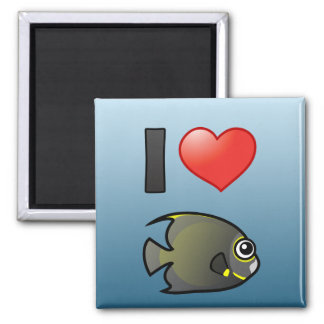 I Love French Angelfish Square Magnet