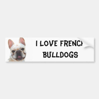 I Love French Bulldogs bumper sticker