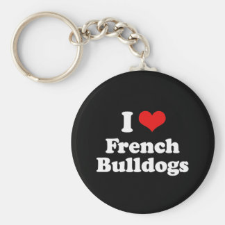 I Love French Bulldogs Key Chain