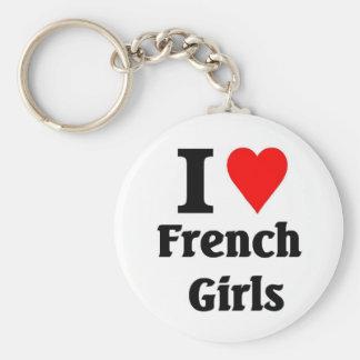 I love French Girls Basic Round Button Key Ring