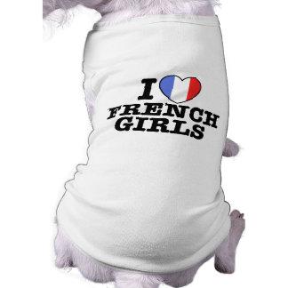 I Love French Girls Sleeveless Dog Shirt