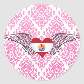 I Love French Polynesia -wings Round Stickers
