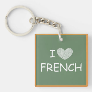 I Love French Single-Sided Square Acrylic Key Ring
