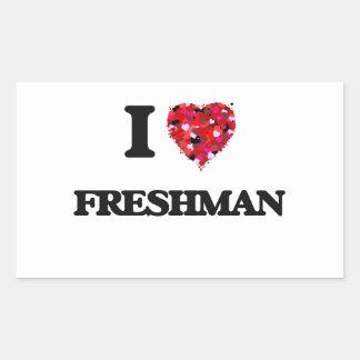 I Love Freshman Rectangular Sticker