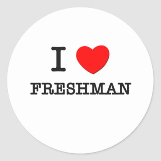 I Love Freshman Round Stickers