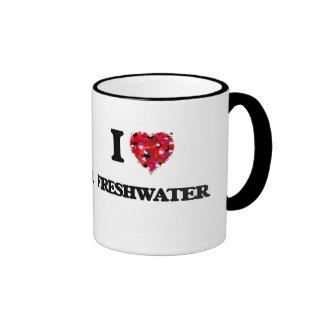 I Love Freshwater Ringer Mug