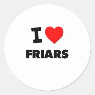 I Love Friars Stickers