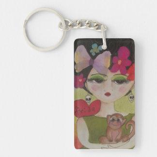 I love Frida Double-Sided Rectangular Acrylic Key Ring