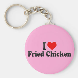 I Love Fried Chicken Basic Round Button Key Ring