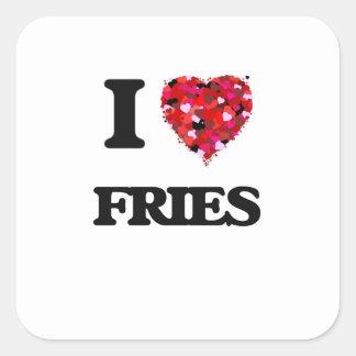 I Love Fries Square Sticker