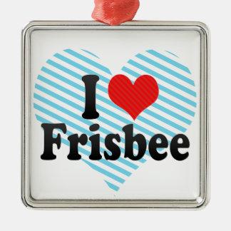 I Love Frisbee Silver-Colored Square Decoration