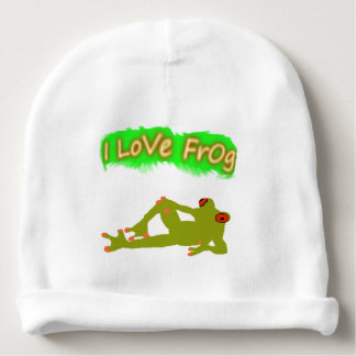 i love frog baby beanie