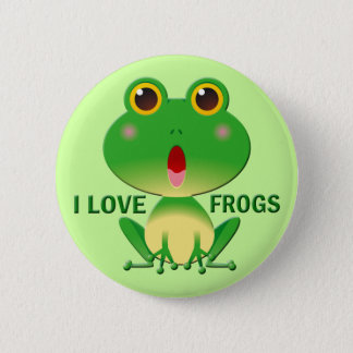 I LOVE FROGS 6 CM ROUND BADGE