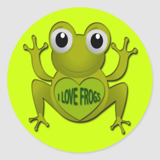 I LOVE FROGS ROUND STICKER