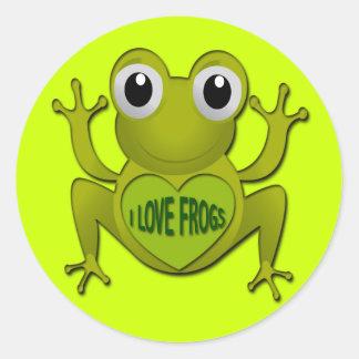 I LOVE FROGS ROUND STICKER