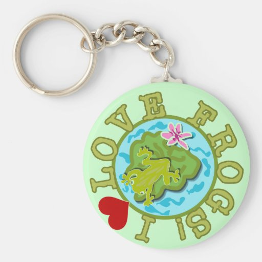 I Love Frogs Tshirts and Gifts Basic Round Button Key Ring