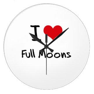 I Love Full Moons Clocks