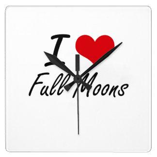 I love Full Moons Wall Clock
