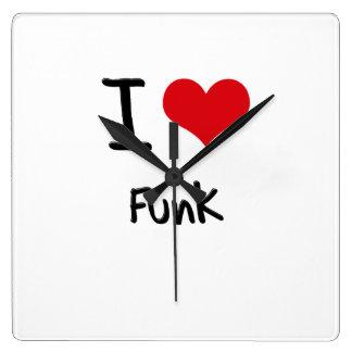 I Love Funk Square Wallclocks