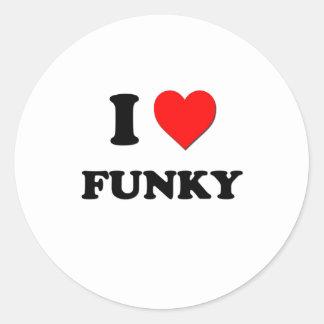 I Love Funky Round Sticker