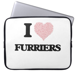 I love Furriers (Heart made from words) Computer Sleeves