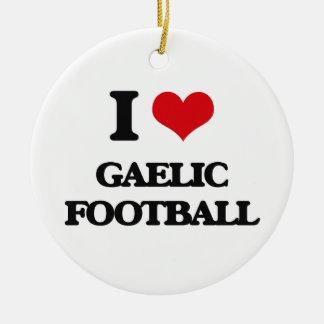 I Love Gaelic Football Round Ceramic Decoration