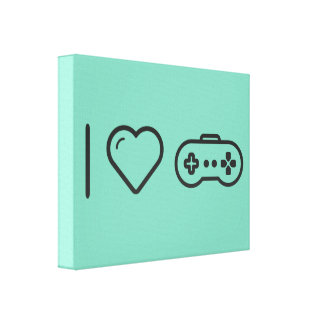I Love Game Controllers Gallery Wrap Canvas