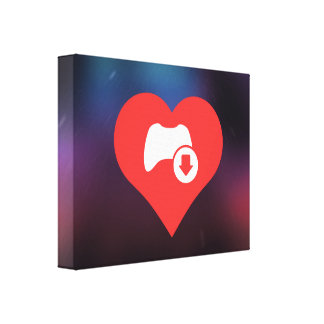 I Love Game Controls Modern Stretched Canvas Print