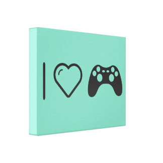 I Love Gaming Controls Gallery Wrapped Canvas