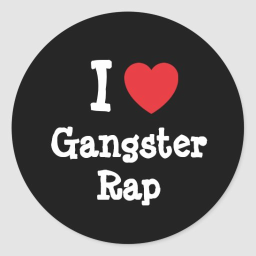 I love Gangster Rap heart custom personalized Round Stickers