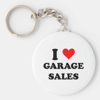 I Love Garage Sales Basic Round Button Key Ring