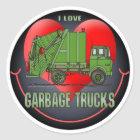 I Love Garbage Trucks Kids Sticker