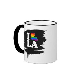 I LOVE GAY LOUISIANA - WHITE -.png Ringer Mug