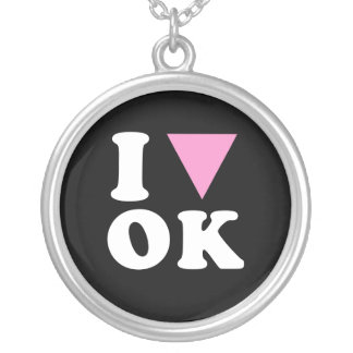I LOVE GAY OK - WHITE -.png Personalized Necklace