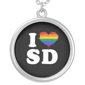 I LOVE GAY SAN DIEGO - WHITE -.png Necklaces