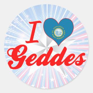 I Love Geddes, South Dakota Round Stickers