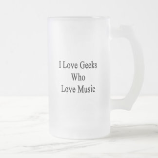 I Love Geeks Who Love Music Frosted Glass Mug