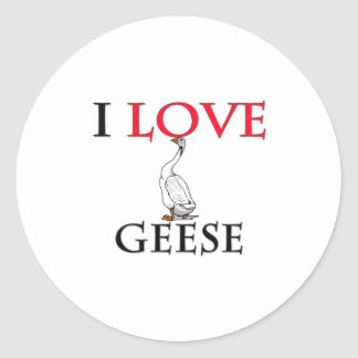 I Love Geese Round Stickers